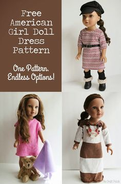 Free Crochet Doll Clothes Patterns For 18 Inch Dolls American Girl Doll Basic Knit Dress Pattern And Tutorial Sewing Doll Clothes, Baby Doll Clothes, Crochet Doll Clothes, American Girl Dress, American Doll Clothes, American Girls, Doll Dress Patterns, Sewing Patterns, Crochet Patterns