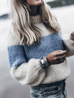 Winter Knitted Sweater Women Fashion Color Block Striped Jumper Pullover Autumn Long Sleeve Streetwear Sweaters Female Plus Size Fluffy Sweater, Mohair Sweater, Pullover Sweaters, Knitting Sweaters, Cardigans, Mohair Yarn, Loose Sweater, Tunic Sweater, Free Knitting