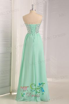 Sweetheart sleeveless floor-length Mint chiffon with crystal beads Evening/Party/Homecoming/cocktail dress/Bridesmaid/Formal Dress