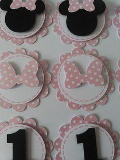 30 Apliques tags scrapbook lembrancinhas Minnie Rosa - R  25 cf77ee80301a5