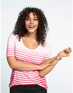 Ombre striped tee by Lane Bryant | Lane Bryant