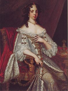Catherine of Braganza, the wife of Charles II. She is credited with introducing the habit of drinking tea to Britain, having brought the custom over from her native Portugal.
