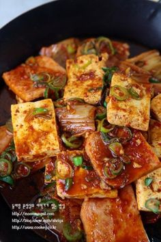 Tofu, spam, and kimchi jorim Korean Side Dishes, K Food, Good Food, Yummy Food, Tteokbokki Recipe, Look And Cook, South Korean Food, Food Festival, Food Plating