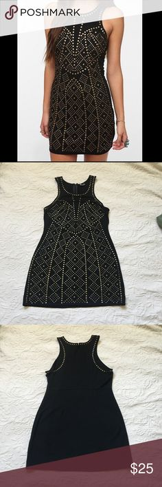Sparkle & Fade Ponte Knit Studded Bodycon Dress Urban Outfitters black and gold studded dress. Studded on front with studs only on shoulder hem. Form fit. Perfect for a night out. Great condition. Sparkle & Fade Dresses Mini