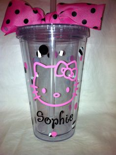 Personalized Hello Kitty Tumbler with Lid by SweetSerendipityShop, $13.00