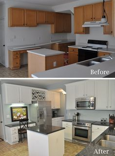 Great kitchen before and after, renovation. Love the awkward space above the fridge turned into a wine rack.