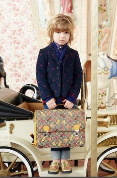 Cool pattern mixes for the boyswear at Gucci kids collection for fall/winter 2016