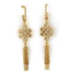 5aa45dc8b067c1 The Royal Golden Knot 14K Gold Plated Pave CZ Brass Drop Earring. Artune  Jewelry Online