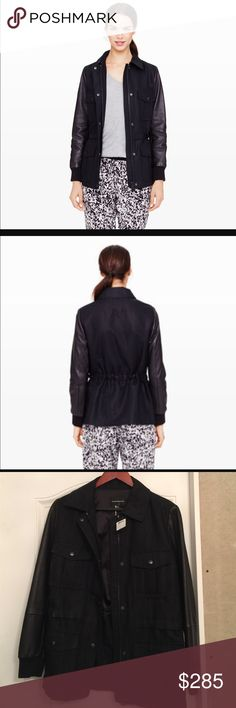 Club Monaco Ivy Parka Jacket BNWT awesome jacket parka for this winter season! stylish and chic! never been used tags still attached! Size Medium.  color soot black. retailed for $398.  Luxe leather sleeves upgrade this classic silhouette. Point collar. Four patch pockets with snap-flap closures at front. Cinched waist. Leather sleeves with knit cuffs. Two-way zip-front with snap-over covered placket. Fully lined. Cotton blend with leather sleeves. Professional leather dry cleaning only.  No…