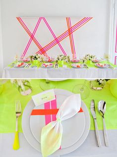 another cool use of neon tape. I like the neon yellow table runner. The source used tape on plates for an example that doesn't seem too doable, but you could get the clear hard plastic plates and do tape on the underside for the same type of effect with out having to eat off tape!