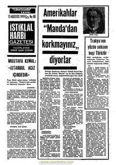 istiklal harbi gazetesi 13 ağustos 1919 Turkey Country, Istanbul, Bmw, History, Historia