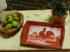 Miniature Brick Red Wood Serving Tray with by JansPetitPantry