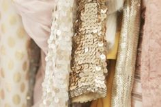 champagne, ballet pink, ivory with texture and sparkle...my favourite colours!