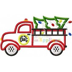 Christmas Firetruck with Tree Applique Design