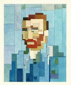 weandthecolor:  Vincent van Gogh's self portrait as geometric 8 Bit inspired painting Adam Lister creates geometric 8-Bit inspired paintings...