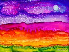 NIGHT SKY ARIZONA Alcohol Ink on Yupo paper