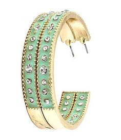 Women's Fashion Jewelry Mint Green and Gold Tone Clear Crystal Hoop Earrings: Women's Jewelry