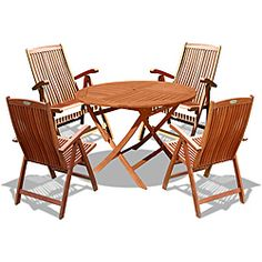 @Overstock - This attractive five-piece outdoor dining set is crafted from premium-grade eucalyptus hardwood. Similar to teak in durability, this weather- and insect-resistant wood outdoor dining set will be enjoyed for years to come.http://www.overstock.com/Home-Garden/Vifah-Eucalyptus-Wood-5-piece-Outdoor-Dining-Set/6589458/product.html?CID=214117 $539.99