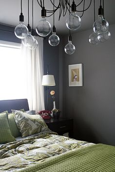 Dark grey walls (Martha Stewart, Zinc) and green bedding with white curtains. Decor, Bedroom Paint Colors, Green Bedding, Home, Home Bedroom, Grey Walls, Bedroom Green, Bedroom Inspirations, Bedroom Colors