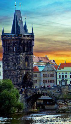 Beautiful View of Charles Bridge in Prague