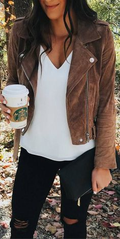 #fall #outfits suede brown jacket black ripped pants