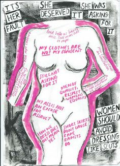 Words around the outside of the figure are some of society's toxic messages towards women. (particularly about rape,victim blaming, slut shaming)