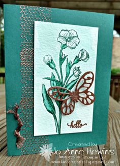 CCMC455, stampin up butterfly basics, copper embossing powder, tranquil tide cardstock and ink with aquapainter