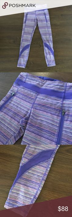 Lululemon run inspire  7/8 fun pattern pants!! Lululemon run inspire 7/8 fun patterned pants hardly worn!! Never dried!! lululemon athletica Pants Leggings
