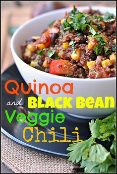 QUINOA AND BLACK BEAN VEGGIE CHILI - http://www.diypinterest.com/quinoa-and-black-bean-veggie-chili/