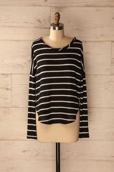 Saulzoir - Long sleeve black and white strips top
