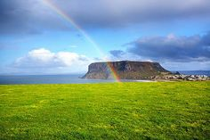 A rainbow gracing The Nut – an ancient volcanic formation overlooking the historic village of Stanley in north-west Tasmania. Photo courtesy of Dr. Great Places, Beautiful Places, Van Diemen's Land, Australian Continent, Land Of Oz, Somewhere Over, Largest Countries, Papua New Guinea, Continents