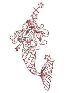 mermaid embroidery pattern free - Google Search