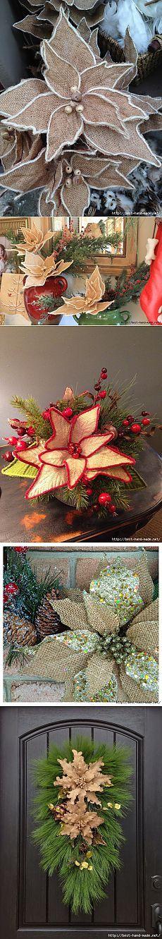 Рождественская пуансеттия из мешковины. Идеи, мастер-классы.