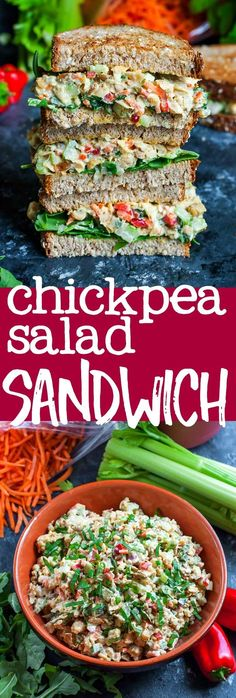 This tasty vegetarian Garden Veggie Chickpea Salad Sandwich is a plant-based powerhouse of a lunch! Make it in advance for a party or picnic or to take along as an easy weekday lunch for work or school.
