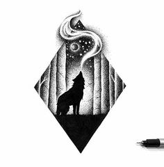 Dotted Drawings, Cool Art Drawings, Pencil Art Drawings, Art Drawings Sketches, Stippling Drawing, Wolf Sketch, Wolf Artwork, Black And White Drawing, Black Pen Drawing