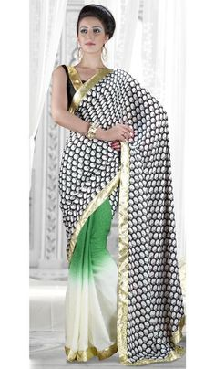 G3 fashions Black Green Chiffon Jacquard Georgette Party Wear Saree Product Code : G3-LS10910 Price : INR RS 2392