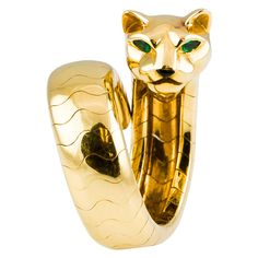 CARTIER PANTHERE Emerald Onyx Gold Flexible Ring