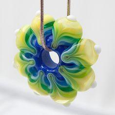 MANDALA BEAD  in yellow green and blue  LAMPWORK door NorthSeaGlass, $29.00
