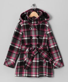 Take a look at this Dollhouse Black & Raspberry Plaid Double-Breasted Belted Coat - Toddler on zulily today!