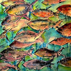 fish :acrylics and inks on paper http://society6.com/agnesTrachet/fish-s3E_Print