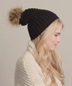 Black Cable-Knit Pom-Pom Beanie by Leto Collection #zulily #zulilyfinds
