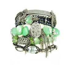 have you had your greens today? diamond bar and fringe, triple wrap chrysoprase and mystic spinel, rough cut chrysoprase with pinned japanese keishis and open pave leaf medallion, faceted fluorite, peridot and a whopping 16mm silver tahitian keishi. yum! nanfusco.com