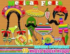 Fiesta Mexicana Foto accesorios de cabina, fiesta de cumpleaños de la fiesta mexicana, 5 de mayo, decoración del partido, establecer apoyos de fotomatón, imprimible - descarga instantánea