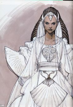 Star Wars - Concept art for Padme's wedding dress by Iain McCaig