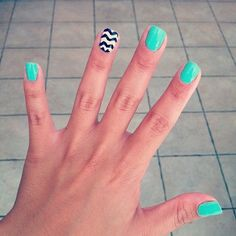 Turquoise and stripes nail art