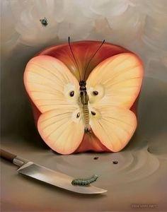 nr. 2 - Vladimir Kush , Butterfly Apple (painting)