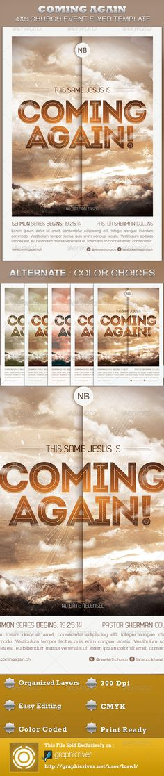 Buy Coming Again Church Flyer Template by loswl on GraphicRiver. Coming Again Church Flyer Template is sold exclusively on graphicriver, it can be used for your Sermons that reflect. Flyer Design Templates, Print Templates, Flyer Template, Psd Templates, Ascension Of Jesus, Cd Artwork, Church Events, Marketing Flyers, Jesus Is Coming
