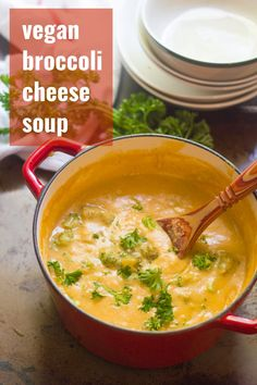 With tender broccoli florets, a rich and creamy texture, and zippy cheesy flavor, you'll love this vegan broccoli cheese soup! So rich and creamy, you'd never guess it was dairy-free! #veganrecipes #vegansoup #dairyfree Cheesy Broccoli Soup, Broccoli Soup Recipes, Broccoli And Cheese, Vegan Recipes Easy, Whole Food Recipes, Vegetarian Recipes, Vegan Soups, Veg Recipes, Kitchen Recipes