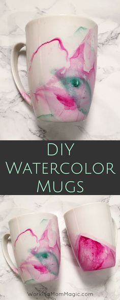 Create beautiful mugs using nail polish & mugs from the Dollar Store!