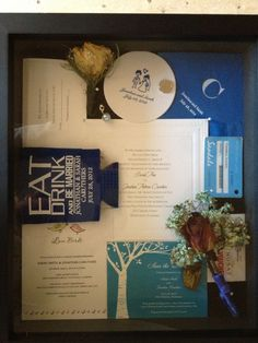 After wedding shadow box idea- napkin, earrings, veil in background, save the date, photo, wine label, garter, vows, etc.